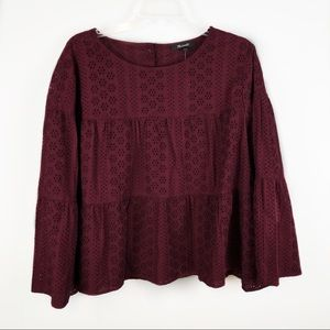 MADEWELL Tiered Button Back Eyelet Top Burgundy 2X